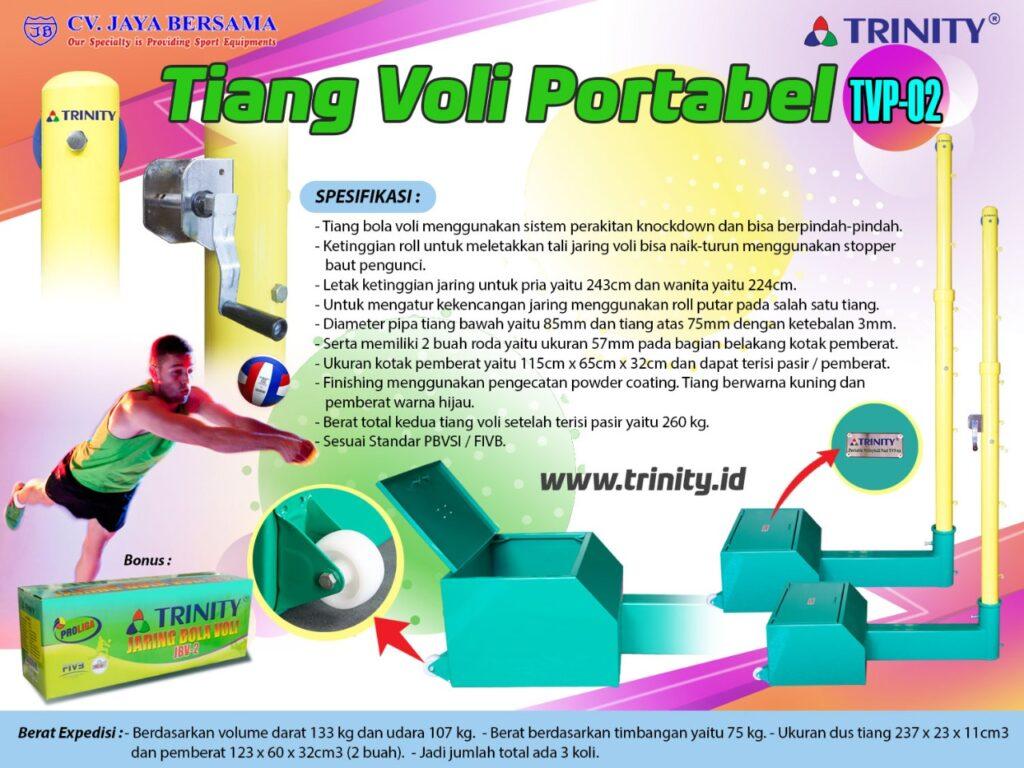 Spesifikasi Tiang Voli Portabel TVP-02 merek Trinity sebagai berikut : - Tiang bola voli menggunakan sistem perakitan knockdown dan bisa berpindah-pindah. - Ketinggian roll untuk meletakkan tali jaring voli bisa naik-turun menggunakan stopper baut pengunci.
